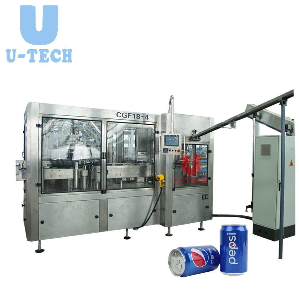 Automatic CSD Carbonated Soft Drink Beverage Can Filling And Seaming Machine Line