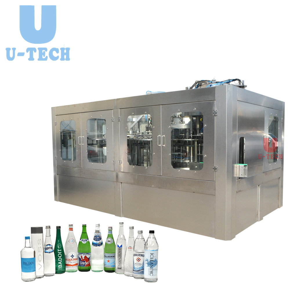 Automatic Glass Bottle CSD Carboanted Soft Drink Soda Water Washing Filling Capping Machine Plant Line